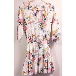 Yum Kim white floral cinched waist mini dress